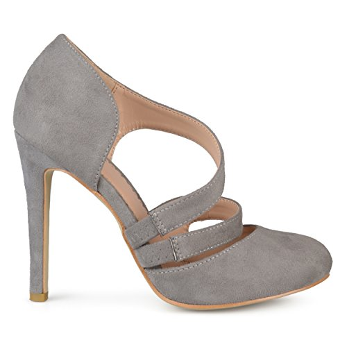 Brinley Co Womens Round Toe Faux Suede Crossover Strap High Heels Grey, 7.5 Regular US - Grey Crossover