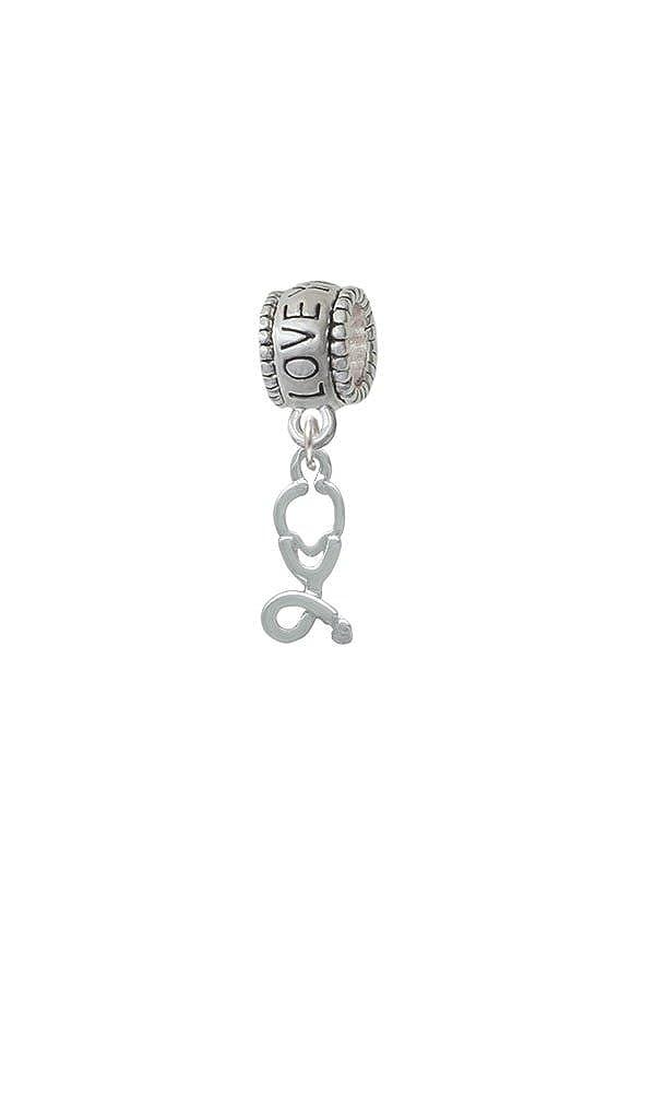 I Love You More Charm Bead Silvertone Stethoscope