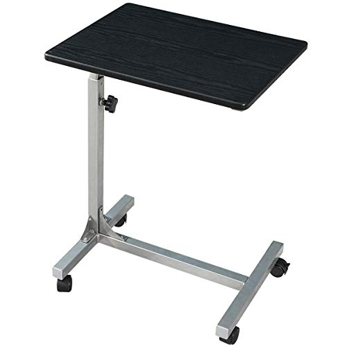 Over-Bed Tray-Table with Lockable Wheels, 3 Height Adjustable Sofa-Side Table, Rolling Medical Eating Tray Table, Portable Laptop Desk (Hospital Table Tray)