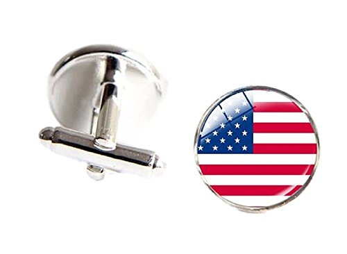 Aves Designs Men's USA American Flag Printed Custom Cuff Links Set Silver Tone Comes Gift Packaged