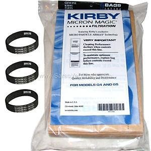 9 Kirby Vacuum Bags G3 G6 Micron Magic 197394 + 3 Belts