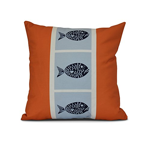 E by design Fish Chips Animal Print Pillow, 16 x 16, Orange by E by design
