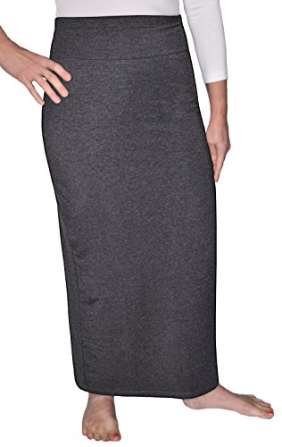 Kosher Casual Women's Modest Cotton Stretch Long Maxi Pencil Skirt Large Dark Charcoal Grey