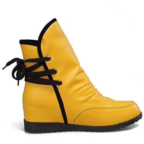 COOLCEPT Damen Herbst And Winter Hidden Heel Ankle Bootie Schnurung Yellow-H