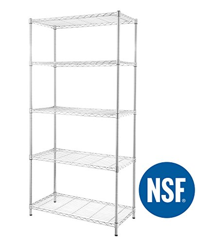 eeZe Rack ETI-003 HEAVY DUTY Steel Wire Shelving, Storage Rack, NSF CERTIFIED, 36x18x72-inches 5-Tier (Chrome) (NEW)