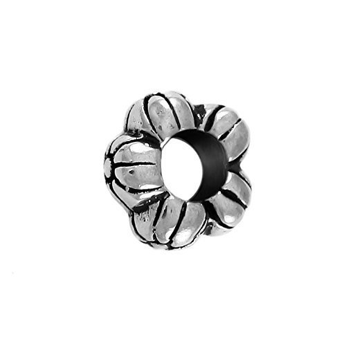 Decorative Flower Large Hole Sterling Silver Charm (Hole Flower Spacer)