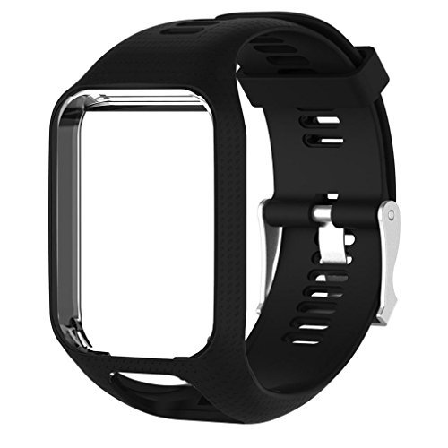 Lisin For TomTom Spark/3 Sport GPS Watch Smart Watch Accessories watchband Replacement Silicone Band Strap (Black)