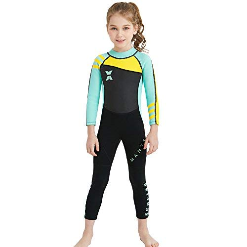 (Dark Lightning Kids Wetsuit Full Thermal Suit, Grils Neoprene One Piece Fishing Suits, 2mm Long Sleeve Swimsuit for Children Scuba Diving, Surfing, Paddling, Swimming, Blue, M Size)