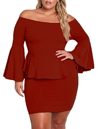 051d5cf77a7 VINKKE Womens Peplum Off The Shoulder Party Plus Size Mini Dress Wine Red  XXL