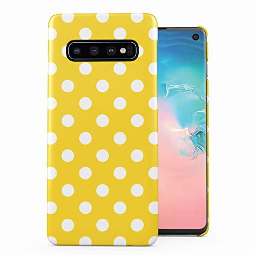Yellow Polka Dots Pattern Plastic Phone Snap On Back Case Cover Shell Compatible with Samsung Galaxy S10 Plus