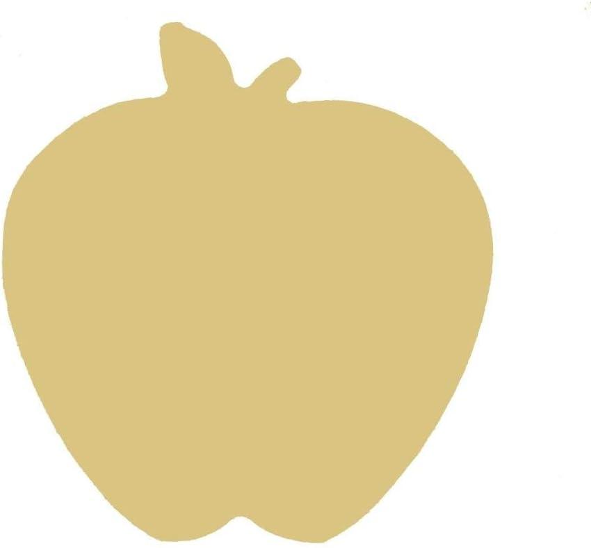 "Apple Cutout Unfinished Wood Fruit Food Summer Decor Everyday Picnic MDF Shape Canvas Style 1 (12"")"
