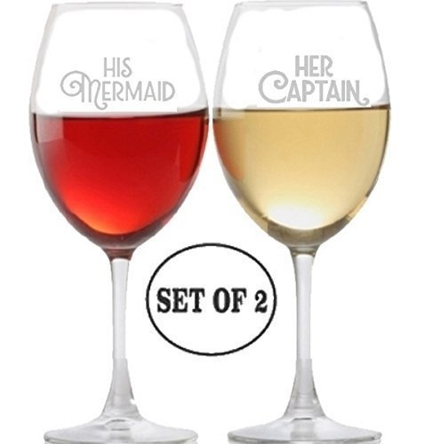 His Mermaid Her Captain Long Stem Wine Glasses for Red Rose White Wine Drinkers Etched Engraved Perfect Fun Handmade Present for Everyone Set of 2