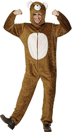Smiffy's Adult Unisex Bear Costume, Jumpsuit with Hood, Party Animals, Serious Fun, Size L, 31680]()