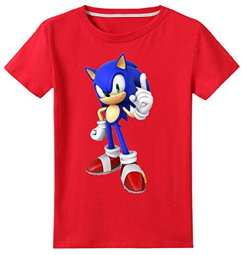 Toddler's 100% Cotton Cool Sonic The Hedgehog Style T-Shirt Youth Boys Girls Short Sleeve Cartoon Tee(Red, 5T) -