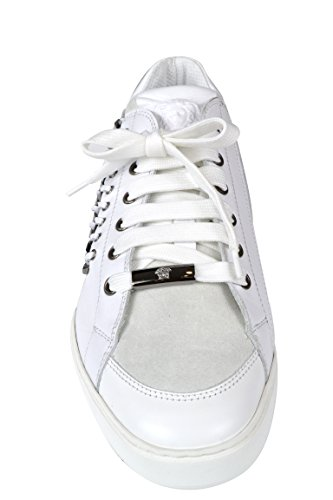 Versace Men's Leather and Suede Fashion Sneakers White