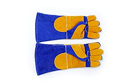Leather Welding Gloves, Rapicca Heat Resistant BBQ gloves, Grill Gloves, Fireplace Gloves 16 INCH from RAPICCA