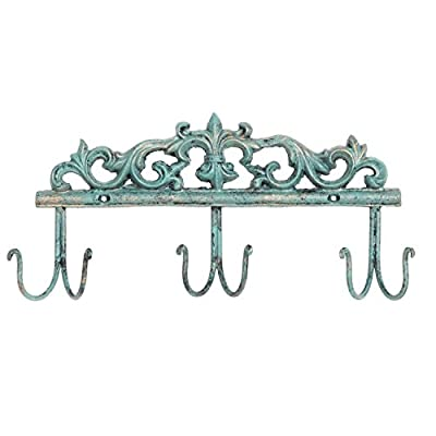 MyGift Vintage Style Rustic Turquoise Metal 6 Hook Coat Rack/Wall-Mounted Entryway Storage Hooks - A vintage-style metal coat rack with a rustic turquoise finish. Features an elaborate design of baroque-style curves at the top and 6 sturdy hooks underneath. Mount on any wall surface to hang bags, coats, and more. - entryway-furniture-decor, entryway-laundry-room, coat-racks - 41pL lZnL1L. SS400  -