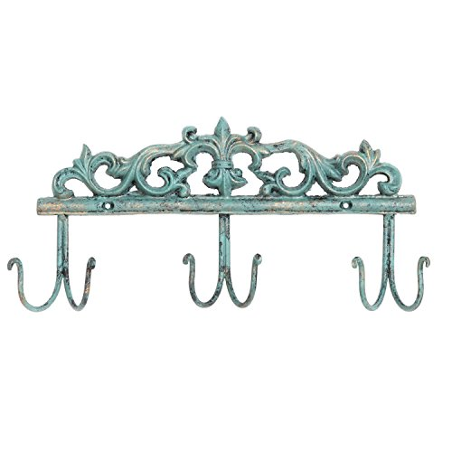 Vintage Style Rustic Turquoise Metal 6 Hook Coat Rack / Wall-Mounted Entryway Storage Hooks - MyGift Antique Hat Rack