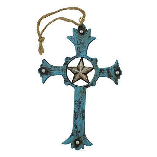 Pine Ridge Cross Ornament Display Western Turquoise Cross with Silver Star Centerpiece - Rustic Religious Hanging Cross for Christian Tree - Vintage Christening Baptism Favors (4