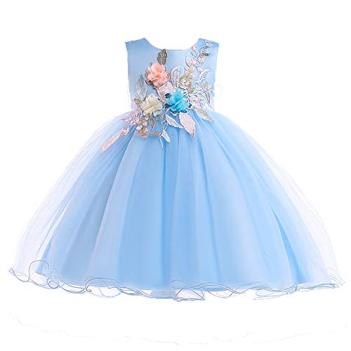 (AIMJCHLD A Line Sleeveless Scoop Neck Flower Girl Dresses Summer Wedding Party Dress Pageant Gowns Christmas Easter Halloween Birthday Holiday Sundress Size 5 6 Years (Blue)