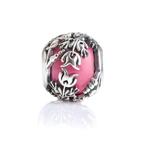 Pink Murano Glass & Sterling Silver Charm Flower Bead S925, Red Glass Flower Charm Bead pendant, Princess Aurora Jewelry, Pink Flowers Tulips Charm, Pandora ()