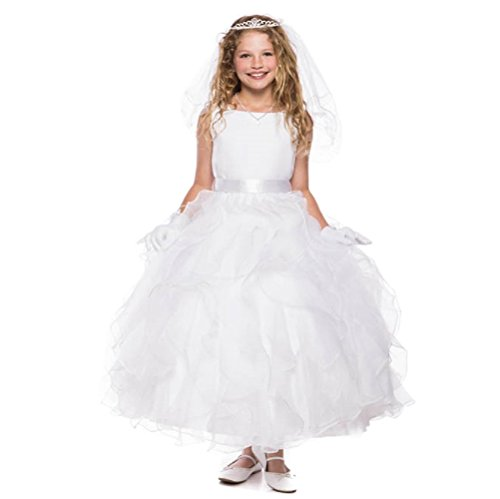 Big Girls' White Stunning Satin Sash Ruffled Communion Flowers Girls Dresses White White Size 10