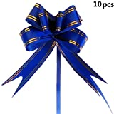 Potelin 10PCS Large Butterfly Style Golden Edge Ribbon Pull Bow Blue
