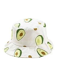 SODIAL Small Fresh Literary Avocado Fisherman Hat Unisex Summer Outdoor Travel Visor Bucket Hat Beanies White