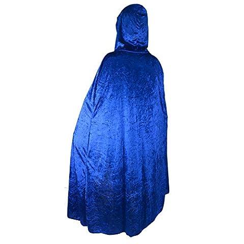 Unisex Halloween Party Festival Magic Hooded Costume Cloak Blue