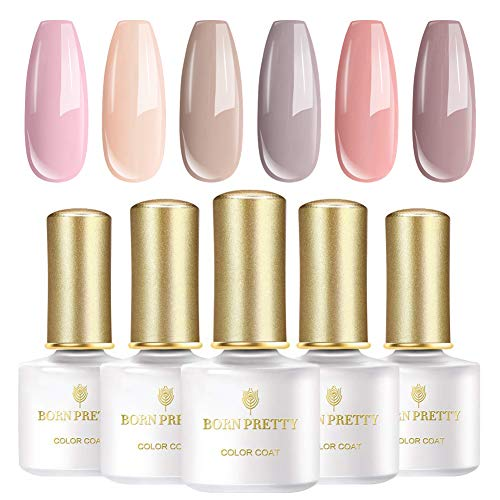 BORN PRETTY Nude Color Gel Nail Polish Set Pink and Gray Series color Soak Off Nail Art Gel Polish Required Gel Base & Top Coat 6 Bottles 6ml