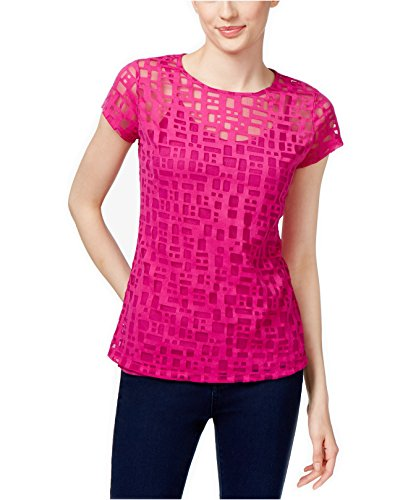 INC International Concepts Women's Mesh Top (XL, Magenta - International Magenta