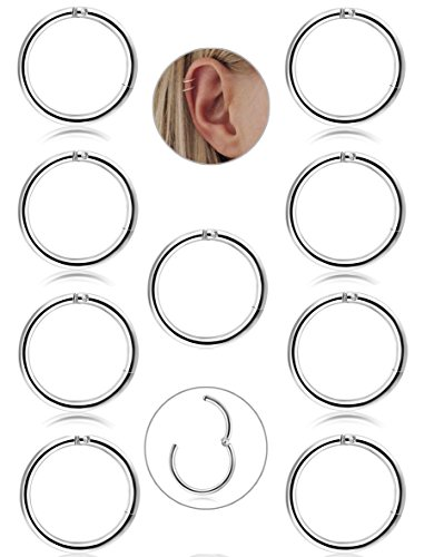 FIBO STEEL 9 Pcs Stainless Steel 16g Cartilage Hoop Earrings for Men Women Nose Hoop Ring Helix Septum Conch Daith Lip Tragus Piercing Jewelry 10MM