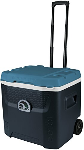Igloo Max Cold Quantum 52 Quart Roller Cooler, Jet Carbon/Ice Blue/White