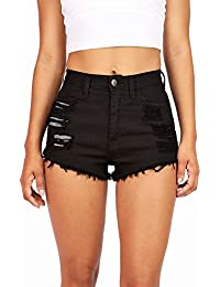 Women's Juniors Denim High Waist Cutoff Shorts