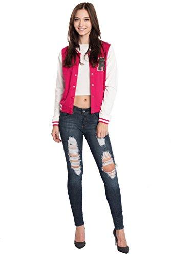 Hat and Beyond Womens Active Fleece Letterman Slim Fit Baseball Varsity Jackets (Large, Fushcia) -