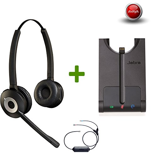 Avaya Phone certified Jabra Cordless Headset | PRO 920 Duo Avaya Bundle | Avaya Compatible VoiP phones: 9601, 9611, 9611g, 9621, 9641 | Remote Answer included| (Mono - Black) (Stereo Duo Headset)