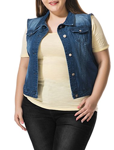 Agnes Orinda Women Plus Size Slim Fit Denim Vest Blue 1X
