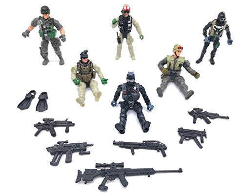 Qiandier 6 Pcs Military Team Action Soldiers Special Force Marine Recon Figure Elite Force Army]()