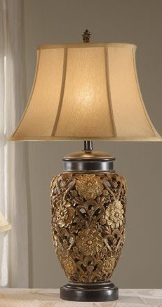 Poundex PDEX-F5219 Set of 2 Table Lamps with Floral Details in Bronze Finish, Multi