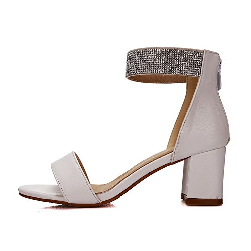 AllhqFashion Womens Zipper Kitten-Heels PU Solid Open Toe Sandals White ET3XD