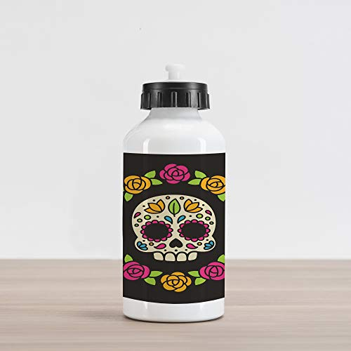 Ambesonne Sugar Skull Aluminum Water Bottle, Dia de Los Muertos Concept Colorful Graphic Skull Figure with Floral Wreath, Aluminum Insulated Spill-Proof Travel Sports Water Bottle, Multicolor