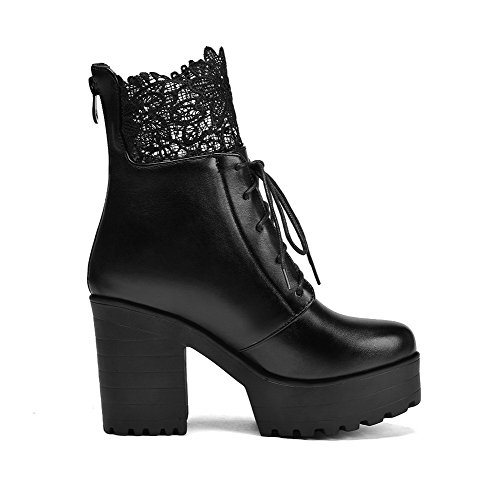 Zipper Chunky Toe up Ankle Black Lace Round Boots Heels lace High Women's Strap WeenFashion with Platform PU Closure RApqgcRS