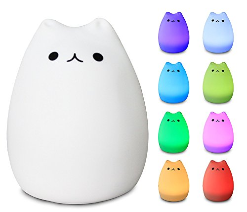 Emoova Night Lights for Kids - 3-Modes Portable Silicone LED Sensitive Slap Control USB Charging 8 Single Color Mode and 8 Color Breathing Light Mode Baby Night Light, Best Kids Adult Sleeping Aid