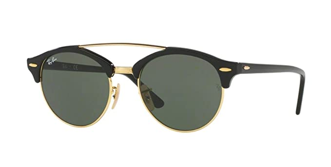 b2159d00a5d56 Ray-Ban RB4346 CLUBROUND DOUBLE BRIDGE Unisex Sunglasses (Black Frame Green  Lens 901