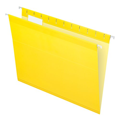 Pendaflex Reinforced Hanging File Folders, Letter Size, Yellow, 1/5 Cut, 25/BX (4152 1/5 YEL)