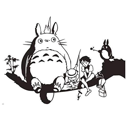 (Removable Vinyl Mural Decal Quotes Art DIY Totoro Wall Stickers for Kids Room Cartoon My Neighbor Totoro Wallpaper Home Decor Wall)