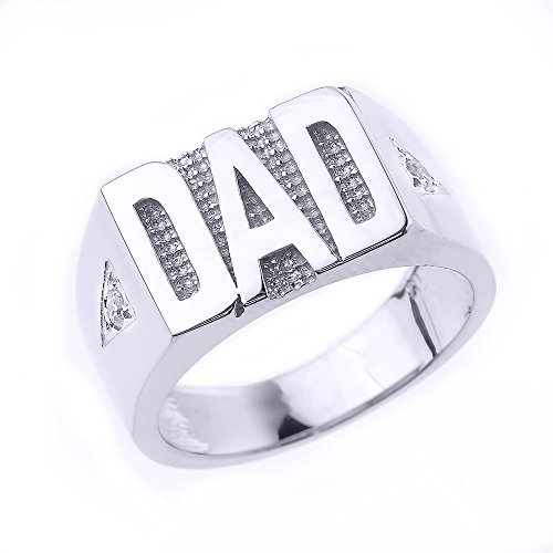 Bold 925 Sterling Silver Solid Diamond Band Dad Ring for Men, Size 8.25 (Ring Diamond Round Mens Dad)