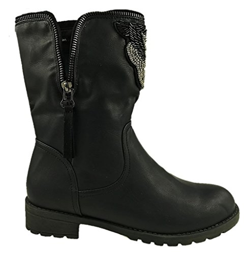 LADIES FAUX LEATHER PULL ON MID CALF LOW CLEATED BIKER COWBOY BOOTS BLACK SIZE 4-7 YMfMb2siR