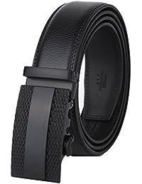 Men's Leather Ratchet Dress Belt with Automatic Buckle