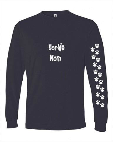 Caroline's Treasures 479M-4001-NAWH-Parent Yorkie Mom Tshirt Ladies Cut Blue Long Sleeve, , multicolor